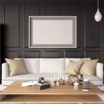 Beyond Grey and Beige!- a modern living room with a dark painted wall