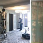 How To To Remove Wallpaper- professionals removing wallpaper in an elevator foyer